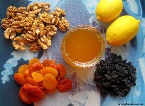 мед, курага і лимон